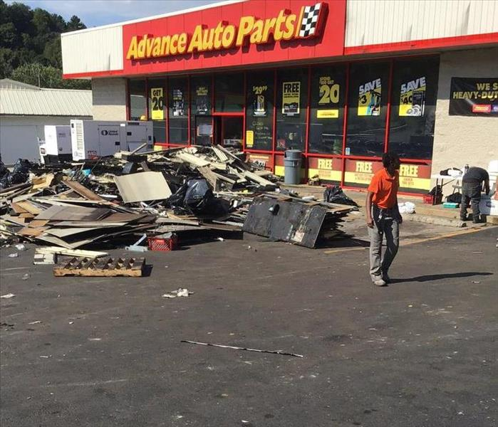 The cleanup after a bad fire at Advanced Auto Parts
