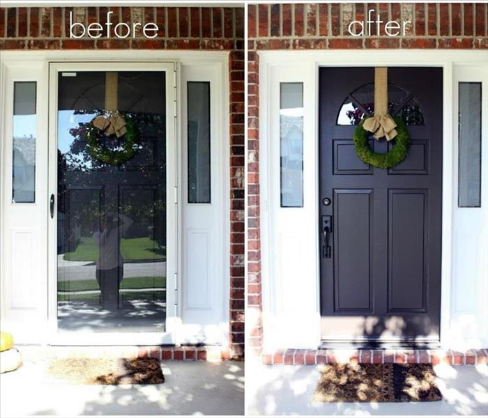 A picture of before and after picture with a storm door vs without one.