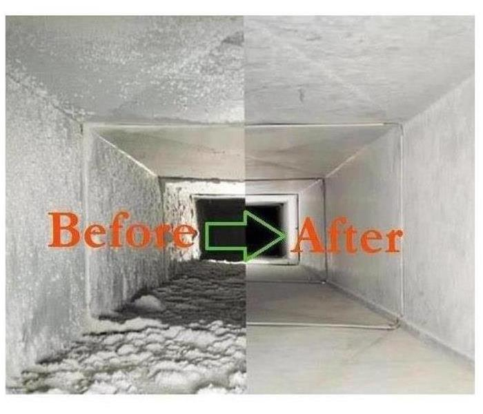 A picture of a before and after picture of a duct that was dirty vs clean.
